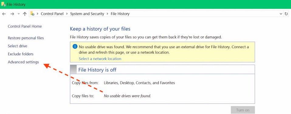 Chỉnh lại File History