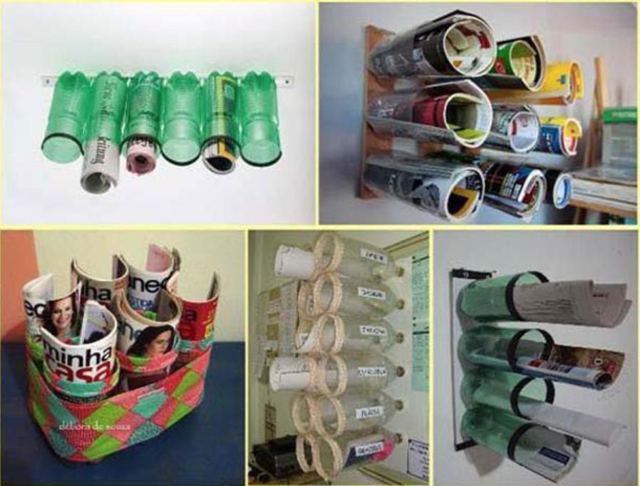 Biến chai nhựa thành kệ để sách báo, tài liệu