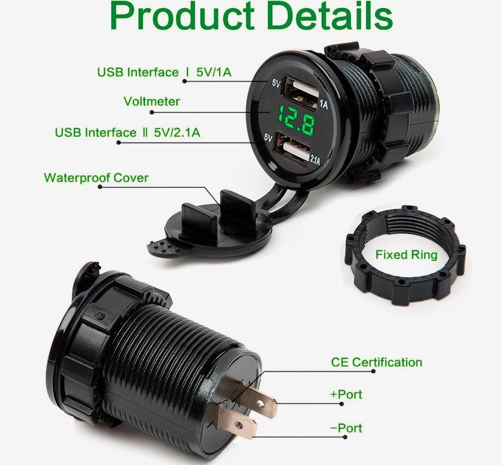 Sạc điện thoại LED VOL đảm bảo an toàn khi sạc điện thoại trên xe máy