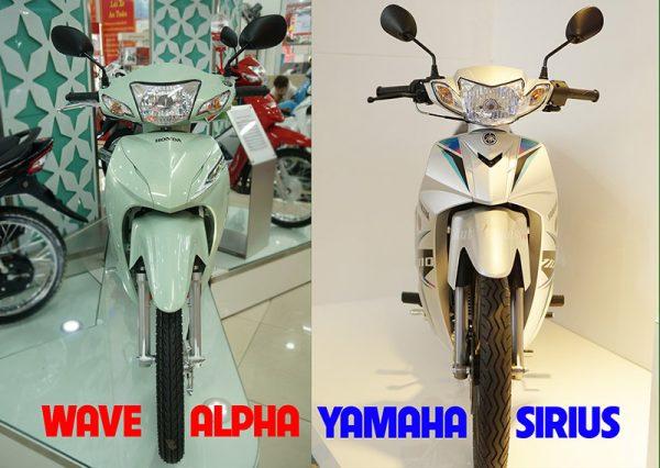 So sánh giá xe Sirius với Honda Wave Alpha